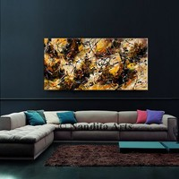 Jackson Pollock Style Brown Abstract painting on canvas, Muster Color oil painting, Modern art, Art sale wall art gift, office decor Nandita