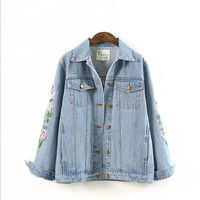 Embroidery Distressed Denim Cardigan Jacket Coat