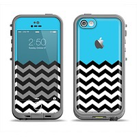 The Solid Blue with Black & White Chevron Pattern Apple iPhone 5c LifeProof Fre Case Skin Set