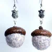 Great Horned Owls In The Oaks Acorn Cap and Felted Wool Earrings