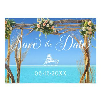 Floral Boho Summer Beach Wedding Save the Date Invitation