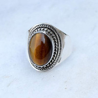 tiger eye ring, silver ring,   stone ring, silver tiger eye ring,92.5 sterling silver, Natural tiger eye stone Silver Ring, RNSLTE206