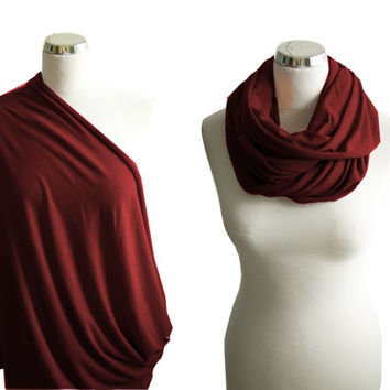 Burgundy Nursing Scarf, Nursing Cover, Maroon Breastfeeding Cover, Nursing Infinity Scarf - Mint Green