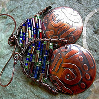 Mosaic Etched Copper Earrings .Stained Glass Look .Gypsy Glam .Oxidized Metal