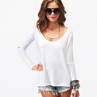 White Cut-Sleeve Asymmetrical Shirt