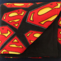 "Superman ""S"" Logo Fleece Blanket - Growing Child - Teen Size - Double Sided"