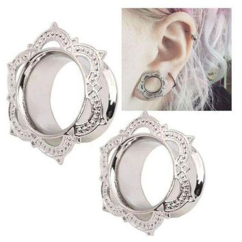 ac PEAPO2Q New Medical Steel Earrings Ear Expander Copper Hypoallergenic Ear Reamer Plugs Ear Flesh Tunnel For Women Men Charm body jewelry