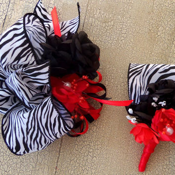 Black and Red Wrist Corsage Wedding- Made to Order-  2 Piece Set- Wrist  Bouquet - Boutonniere