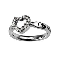 "Christian Womens Stainless Steel Abstinence Songs of Solomon 6:3 ""I Am My Beloved's And He Is Mine"" CZ Open Heart Solitaire Chastity Ring for Girls - Girls Purity Ring - Comfort Fit Ring"