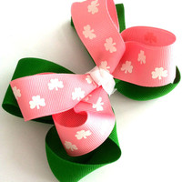 Girls/Toddlers Pink & Emerald Green St. Patrick's Day Boutique Hair Bow