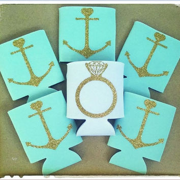 Wedding Anchor Coozies, bachelorette party, sparkly gold coozies, mint green coozies bachelorette party, bride coozies, bridal party gifts