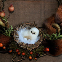 "Thanksgiving Natural woodland scene Wreath needle felt snowy owl grapevine ready to ship 12"" (woolcrazy)"
