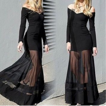 FASHION CUTE LONG NET DRESS