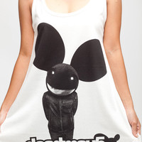 Deadmau5 T Shirt Dress Electronica DJ Hip Hop Women White Tunic T-Shirt Top Vest Mini Dresses Size M L
