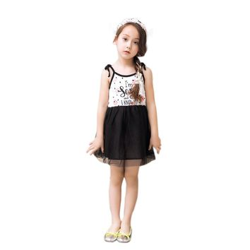 Princess Girls Lace Dress Summer Casual Style Letter Print Kids Party Dresses For Girls Clothes Toddler Baby Clothing