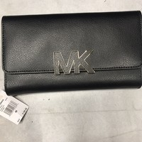Michael Kors Fulton Flap Signature Mk Pvc Clutch Wallet Black New Ships Free