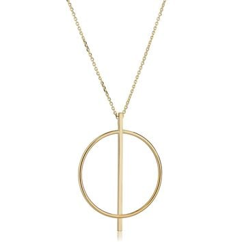 """14K Yellow Gold Circle And Bar On 16"""" To 17"""" Adjustable Necklace"""