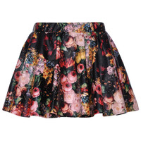 ROMWE | Multicolor Floral Printed Black Faux Leather Skirt, The Latest Street Fashion
