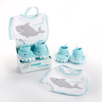 """Chomp & Stomp"" Shark Bib and Booties Gift Set!  Beautiful Gift Item."