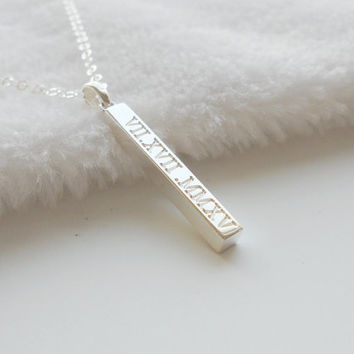 Date Necklace,Roman Numeral Bar Necklace,Vertical Bar necklace,Engraved Date Bar Necklace,Silver Vertical Bar Pendant,Custom Bar Necklace