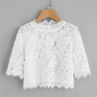 Hollow Out Eyelash Lace Plain Crop Top