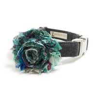 Dog Collar Flower - Dog Collar Accessory - Vintage Dog - Shabby Chic Dog - Collar Attachment - Girl Dog - Teal Chiffon Dog Flower