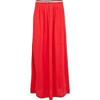Red jersey belted maxi skirt