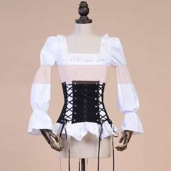 abb975d37d2 Retro Vintage Black and White Girdle Straps Bandage Shirt and Co