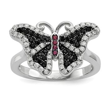 Sterling Silver CZ Black and Pink True Fire Butterfly Ring