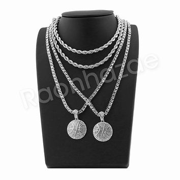 "ICED OUT BASKETBALL PENDANT SILVER W/ 24"" ROPE /18"" TENNIS CHAIN NECKLACE"