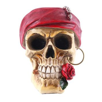 Skull Skulls Halloween Fall HeyMamba Pirate  Replica Resin Human  Statue With Red Rose Sculpture Figure Skeleton Calavera