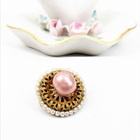Miriam Haskell Pink Pearl Brooch, Pink and White Pearls, Designer Brooch, Signed, Vintage Jewelry
