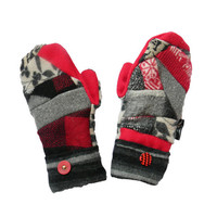 Black and Red Wool Sweater Mittens Recycled Mittens Upcycled Women's Handcrafted in Wisconsin Gray Check Hippie Boho Badgers Sweaty Mitts