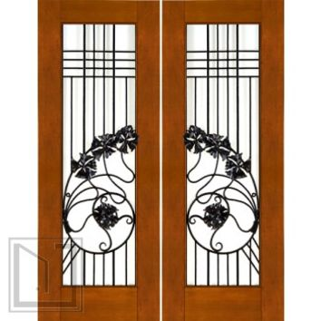 Pair of 2-1/4 Art Nouveau Mahogany Doors Wrought Iron Low-E Glass
