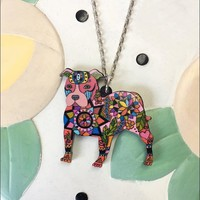 Pit Bull Acrylic Charm Necklace