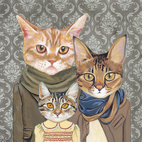 Family Portrait II - Cats In Clothes - Fine Art Print by Heather Mattoon