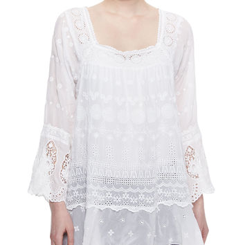 Women's Blue Springs Eyelet Flutter Tunic - Johnny Was