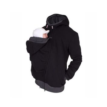 2 In 1 Multi-Function Baby Carrier Coat Kangaroo Hooded Dad Sweater Winter Dressing Pouch Men Fleece Sweatshirt Hoodie Jacket
