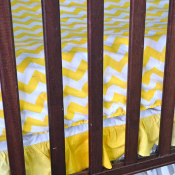 Custom Chevron Yellow Fitted Crib Sheet for Toddler Bed or Baby Crib in Cotton Fabric, Made to Order