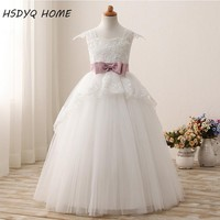Ball Gown Flower Girl Dresses For Weddings Tulle Appliques Lace Bow First Communion Dresses For Girls b