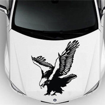 HOOD CAR VINYL DECAL ART STICKER GRAPHICS HUNTING EAGLE BIRD PREDATOR S2047