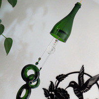 Glass Wind Chime, Recycled green Champagne bottle wind chime,  Sun catcher, Yard art, Patio decor, House warming, Champagne bottle bottoms