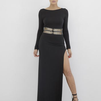 APHRODITE SLIT DRESS - BLACK