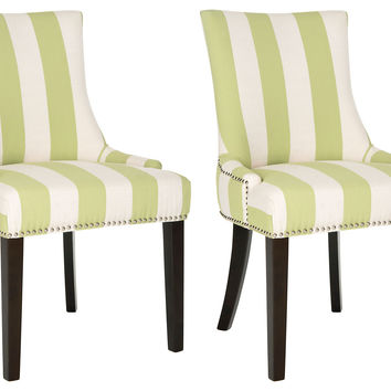 Green-Striped Lester Dining Chairs, Pair, Side Chairs