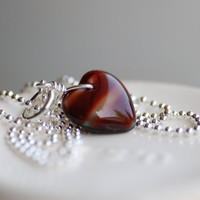Red Glass Heart Necklace, Burgundy Sterling Silver - Let Me Call You Sweetheart