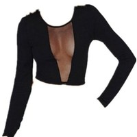 Womens Long Sleeve V Neck Semi Sheer Mesh Lace Front Crop Top