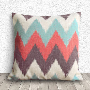 Chevron Pillow Cover, Pillow Cover, Orange Pillow Cover, Linen Pillow Cover 18x18 - Printed Ikat Chevron - 055