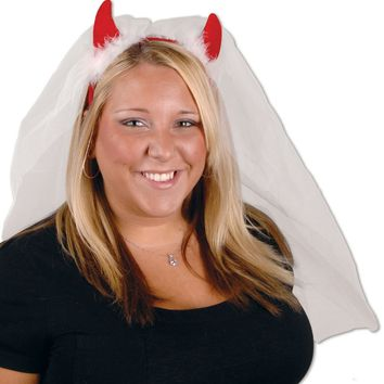 Devil Horns Headband with Veil - CASE OF 12