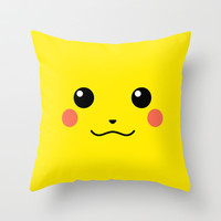 Pikachu Throw Pillow by Valerie Hoffmann