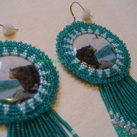 """Native American Style rosette beaded """"Bear over looking Lake"""" earrings in Teal and powder Blue"""